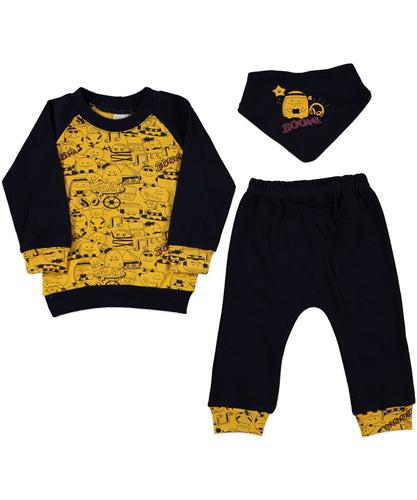 3-piece Baby Boy Booms longsleeve Top And Trouser Set