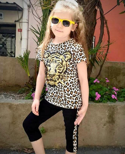 Trendy 2 Piece Girlie casual Leopard Sets