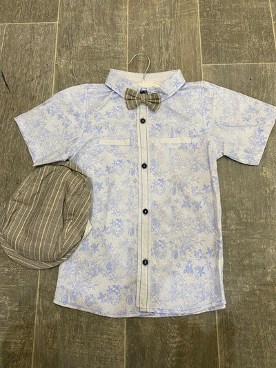 Blue Shirt ,Bow Tie , Short And Face Cap Set  (5-8 Yrs)