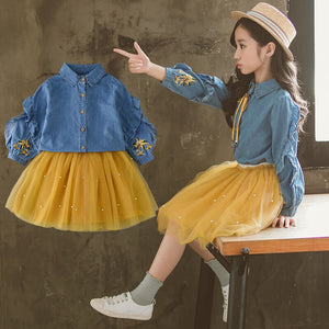 Trendy Tutu Skirt and Denim Top Set
