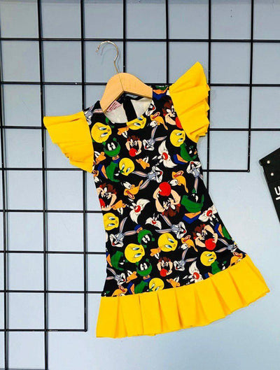 Trendy Angry Bird Allover Print Girlie Dress
