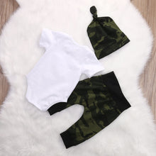 Load image into Gallery viewer, Camouflage 3-piece Long Sleeves Letter Bodysuit  Pants and Hat for Baby Boy