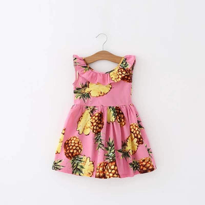 Trendy Pineapple Bow Tie Dress