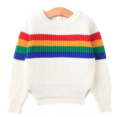 Rainbow  Fashion Knitted Long Sleeve Striped Sweater