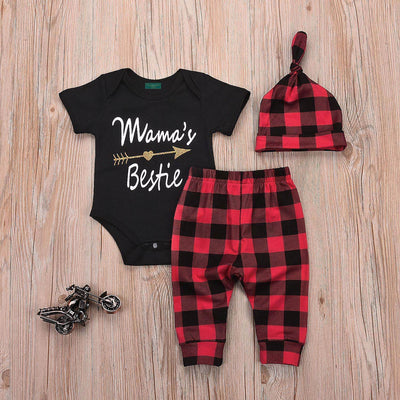Newborn Mamas's Bestie 3 Pieces Bodysuit Pattern Pants and Hat Set for Baby