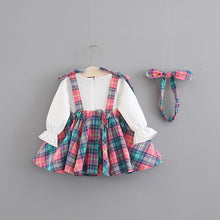 Load image into Gallery viewer, Little Annie Pretty Long Sleeve 3 piece Top Crimson Skirt and Bow Headband Set