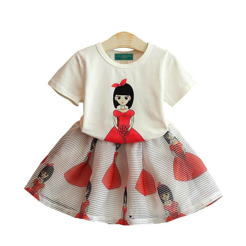 Bella Princess Print Short-Sleeve Tee and Tulle Set for Baby Girl
