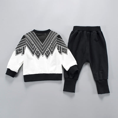 Stylish Appliqued Striped Graphic Patterned top and Pants Set for Baby Boy and Boy