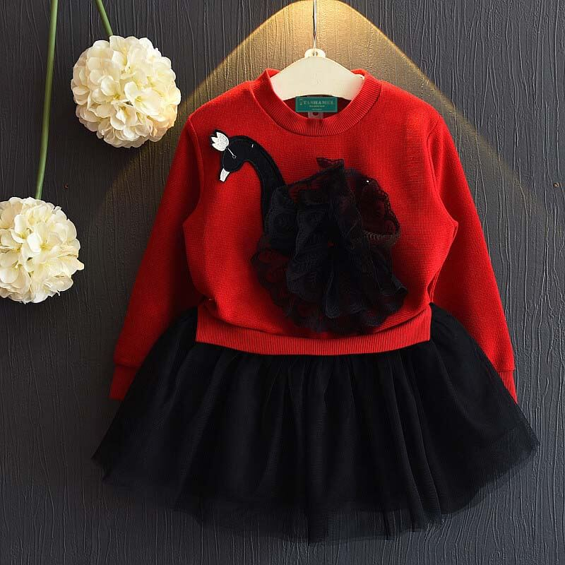 Beautiful Dock Applique Long-Sleeve Tulle Skirt Dress for Girl