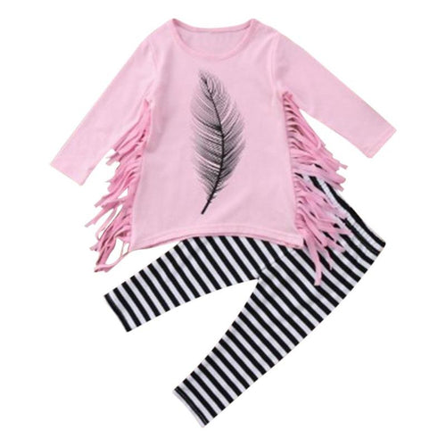 Feather Print Tassel Girls Set
