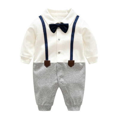 Cute Nobi Faux-2 Bow Knot Long-Sleeve Jumpsuit for Baby
