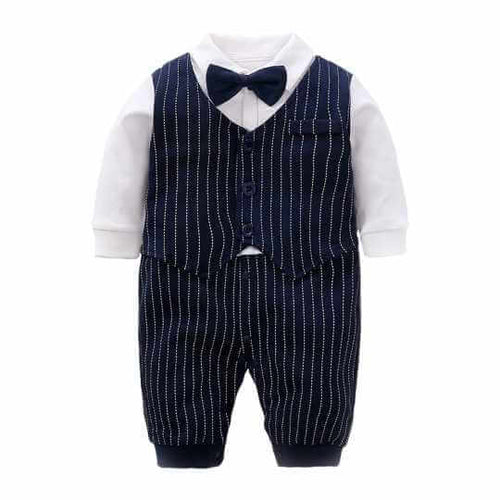 Little kings Faux Striped Waist coat Suit  set