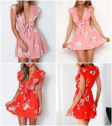 Daisy Dreams Sakura Floral Wrap Front Bow Mini Dress