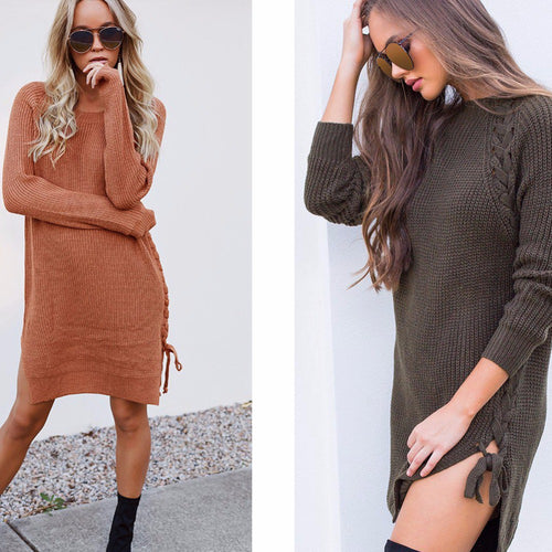 Braided Knit Lace-up Sweater Dress - Daisy Dreams