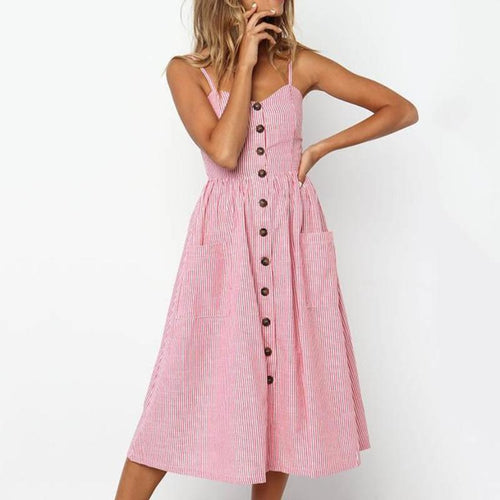 Alice Striped Button Down Pockets Midi Dress - Daisy Dreams