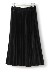 Gemima Metallic Velvet Midi Pleated Skirt - Daisy Dreams