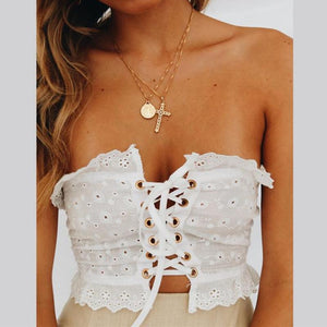 Macheda Bralette Eyelet Lace-up Top - Daisy Dreams