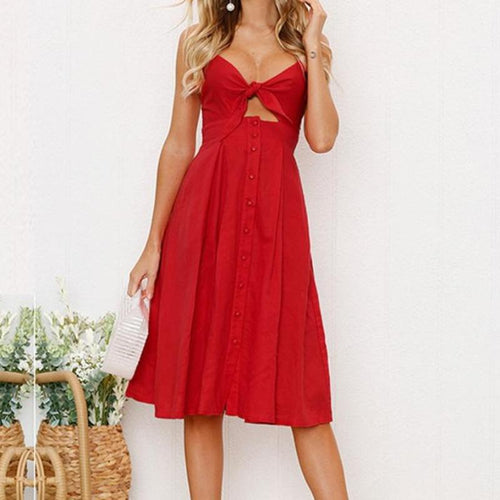 Spaghetti Strap Midi Dress with Front Tie-Bow Daisy Dreams