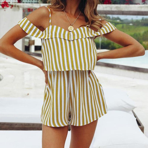 Yellow Striped Off-Shoulder Romper - Daisy Dreams