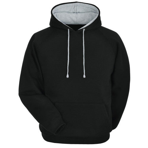 Decent basic with Grey Under- Hood - Solid Black Hoodie