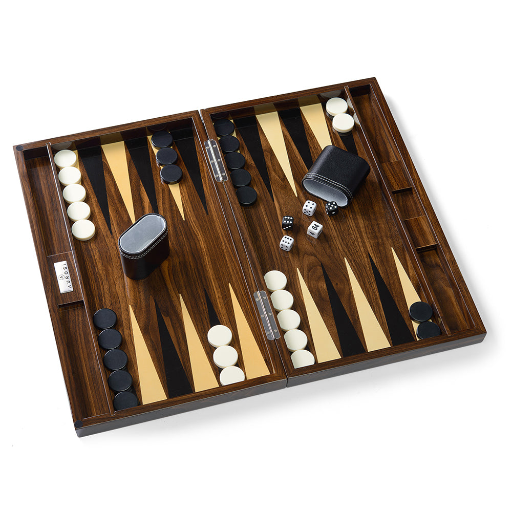 Wood Grain Lacquer Backgammon Set