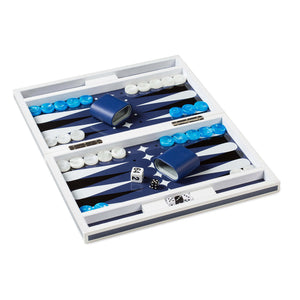 Blue Lacquer Backgammon Set