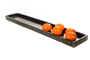 Long Rectangular Resin Serving Tray - Gray