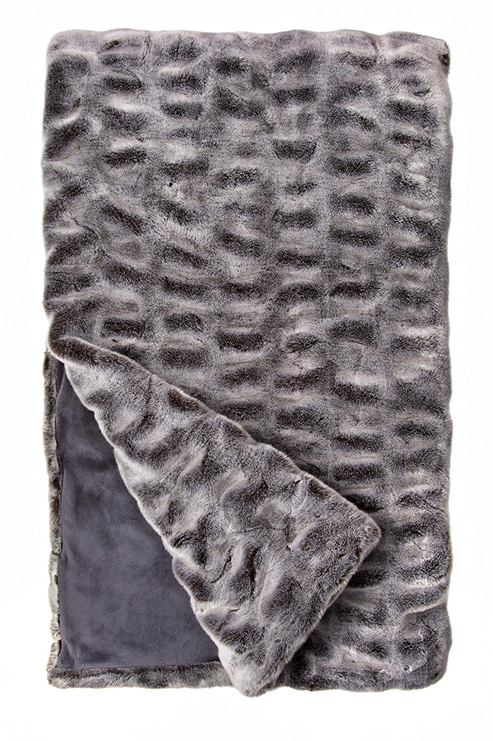 Glacier Gray Couture Faux Fur Throw