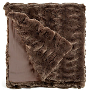 Taupe Couture Faux Fur Throw