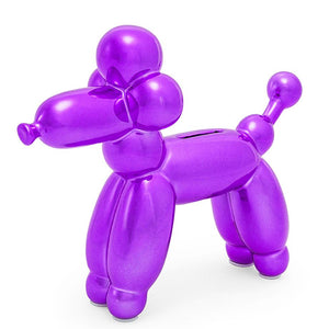 Purple French Poodle Balloon Bank