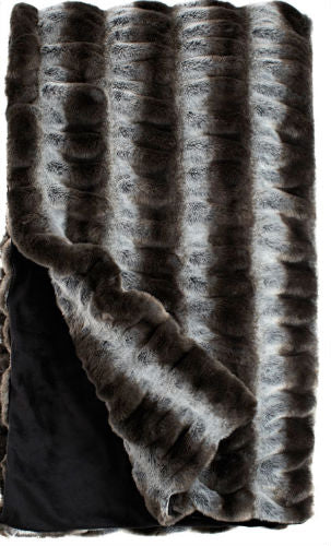 Gray Chinchilla Faux Fur Throw