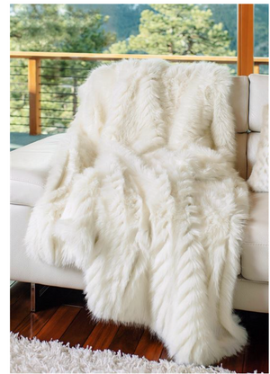 Ivory Apres Mink Faux Fur Throw
