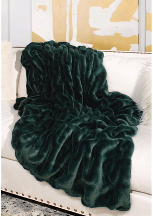 Emerald Couture Faux Fur Throw
