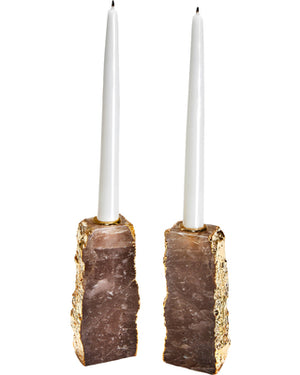 Anna by Rablabs Dourado Candlesticks - Smokey/Gold