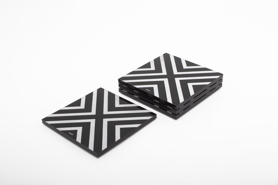 AVF Chevron Black  Coaster Set