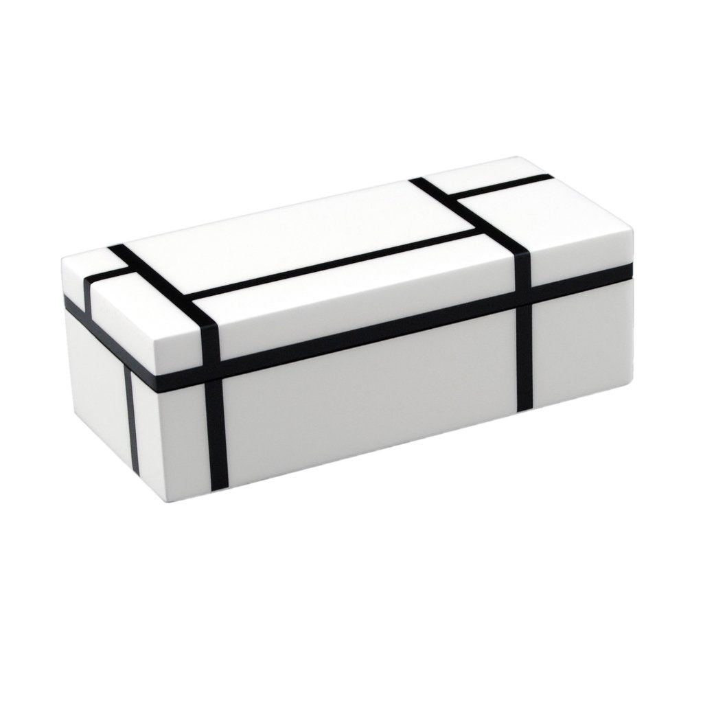 Black & White Grid Lacquer Box
