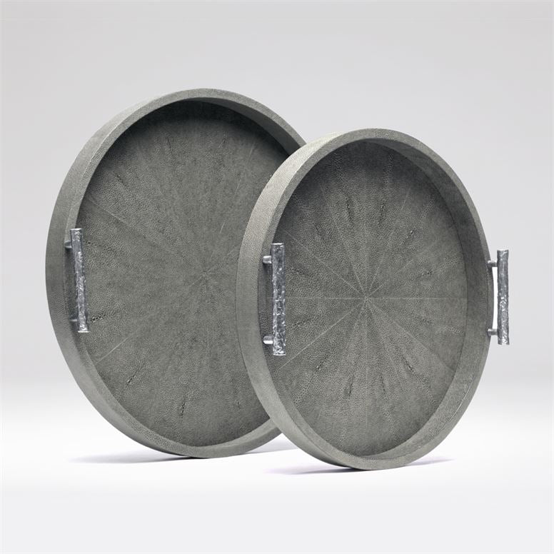 Doris Cool Gray Faux Shagreen Trays