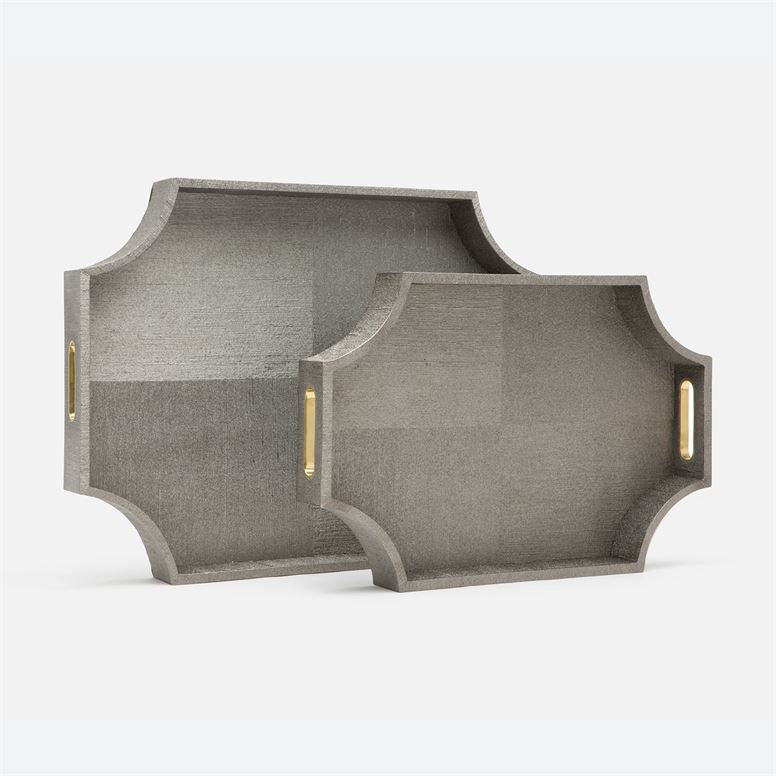 Paden Faux Silk Pewter Trays