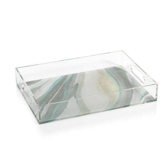 Acrylic Aqua Wave Rectangular Tray