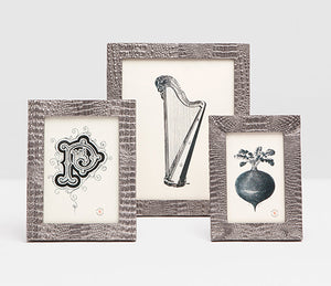 Pewter Faux Croco Photo Frames