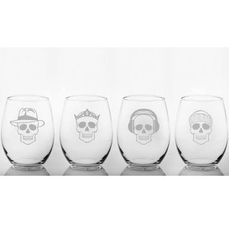 Acrylic Skull Glasses - Set of 4