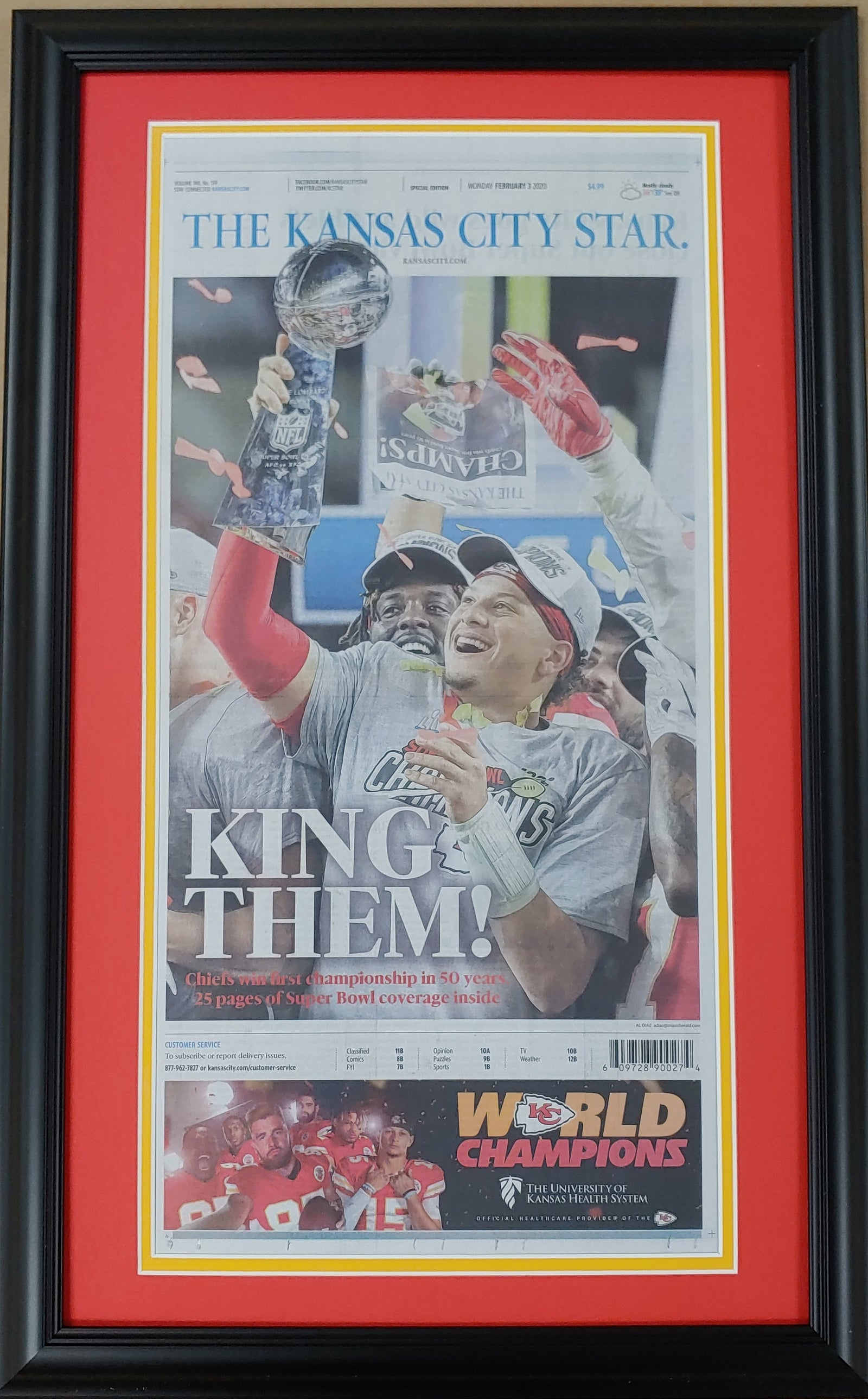 Kansas City Chiefs Framed Original Super Bowl Champions Newspaper