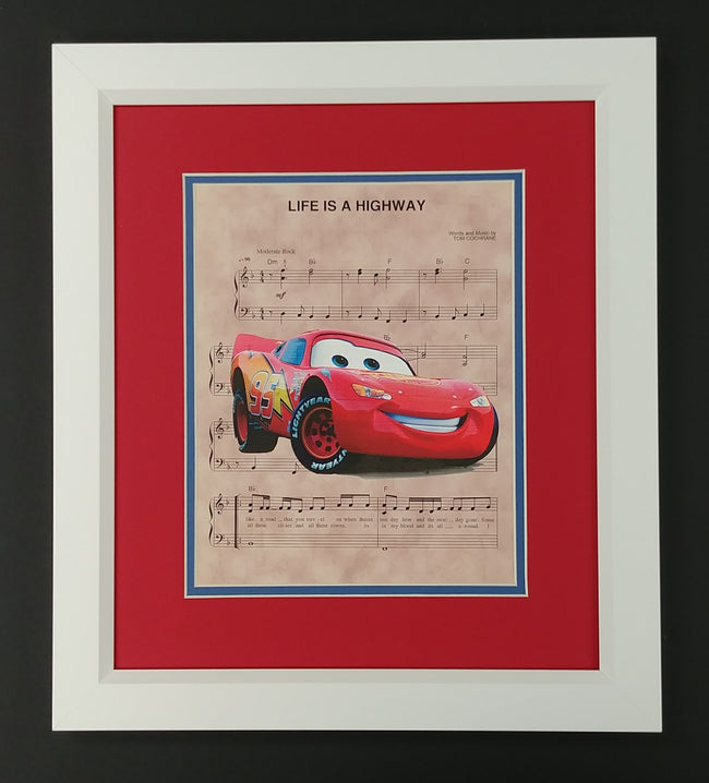 "Cars ""Life is a Highway"" Framed 8x10 Sheet Music Print"