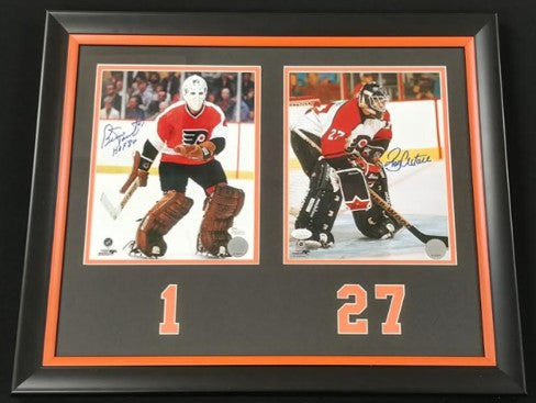 Ron Hextall & Bernie Parent Dual Autographed 8x10 Framed Photo Display
