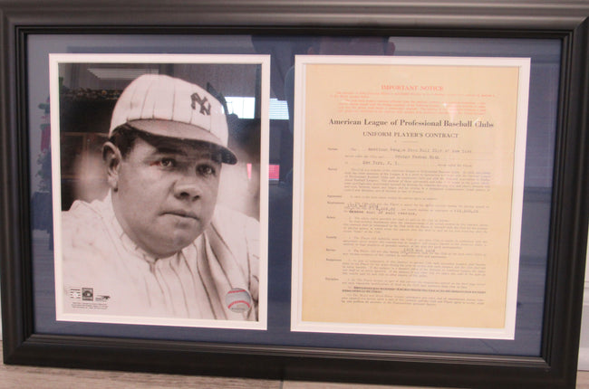Babe Ruth 8x10 Replica Contract Photo Display