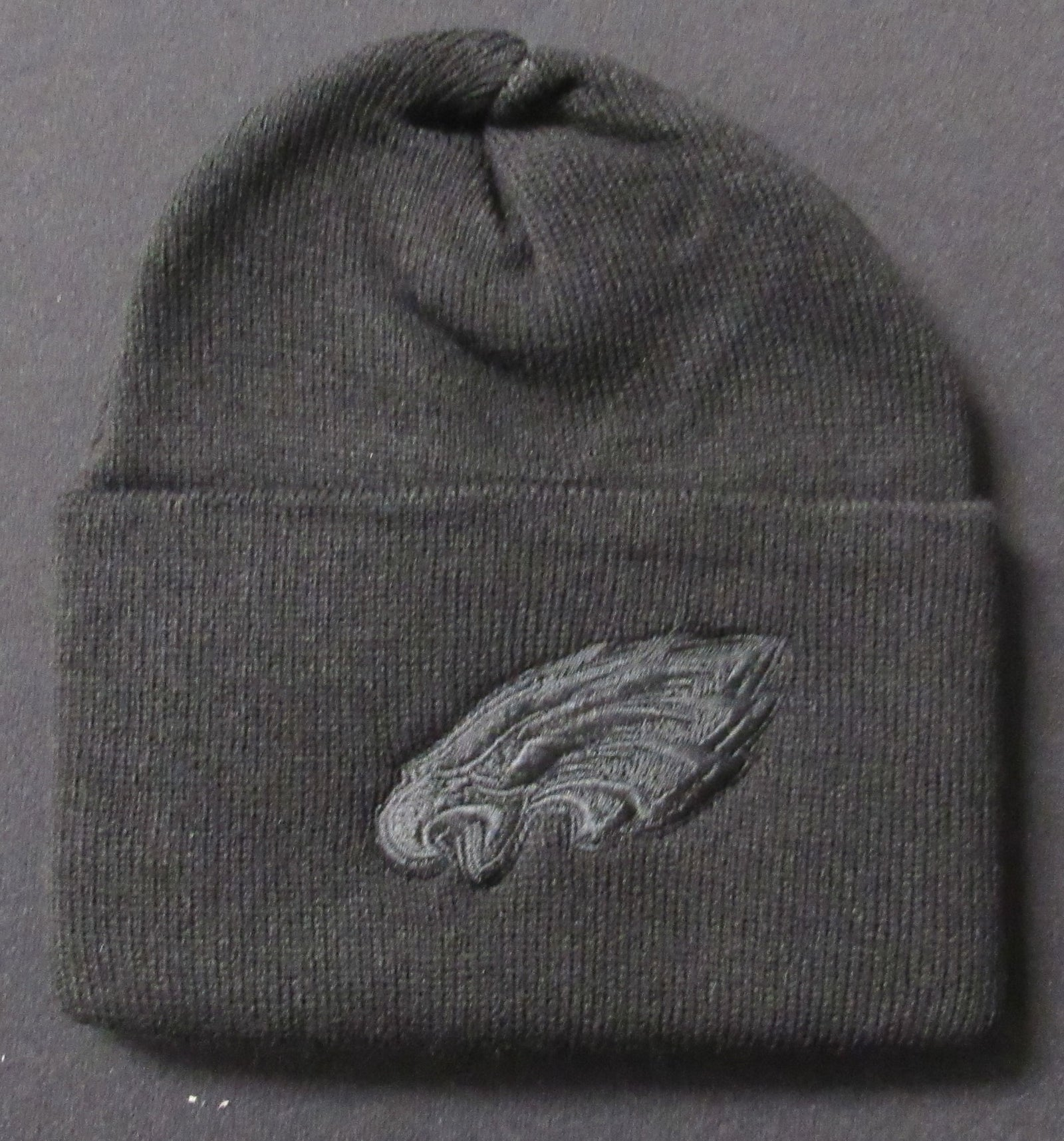 Philadelphia Eagles Knit Hat Black Logo on Black