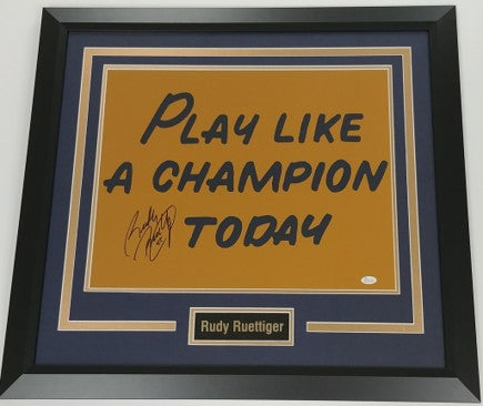 "Rudy Ruettiger Autographed ""Play Like a Champion"" 16x20 Framed Photo Display"
