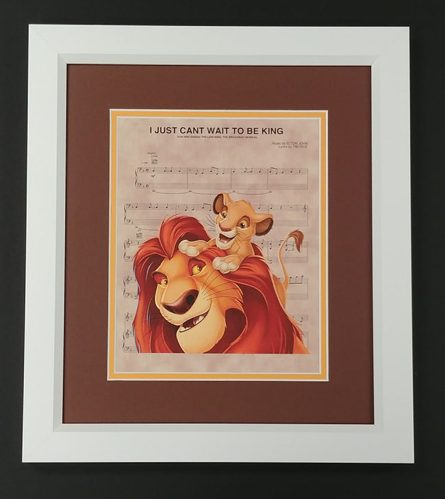 "The Lion King ""I Just Can't Wait to Be King"" Framed 8x10 Sheet Music Print"