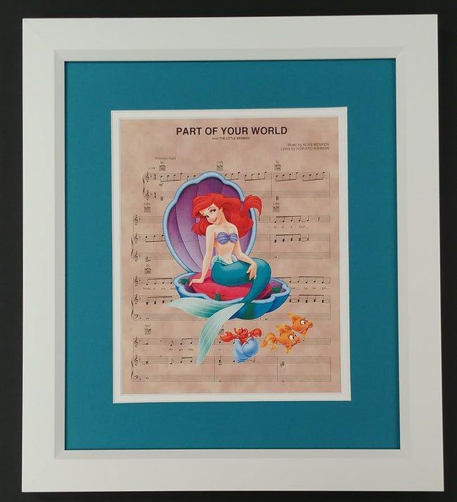 "The Little Mermaid ""Part of Your World"" Framed 8x10 Sheet Music Print"
