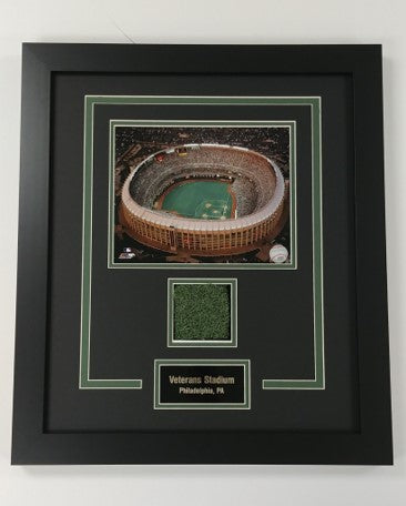 Authentic Veterans Stadium Turf Framed Photo Display